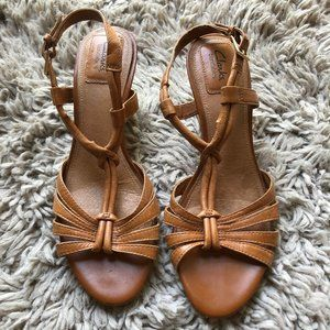 Clarks Leather Slingback Wedge Sandals
